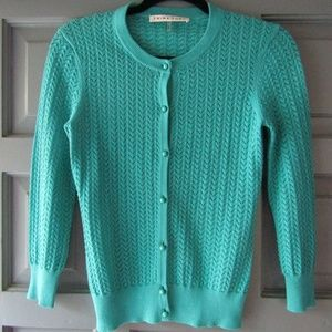 TRINA TURK KNIT CARDIGAN TURQUOISE-Y FAB BUTTONS